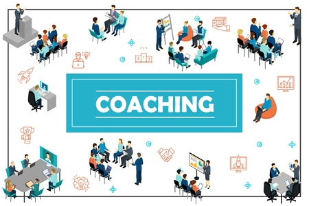 Isometric business training concept with public speech online conference staff coaching presentation consultation brainstorming seminar vector illustration