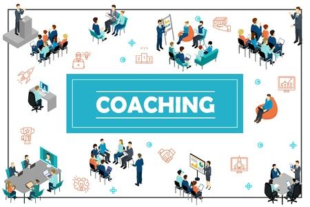 Isometrisches Geschäftstrainingskonzept mit öffentlicher Rede Online-Konferenzpersonal Coaching Präsentation Beratung Brainstorming-Seminar-Vektor-Illustration Vektorgrafik