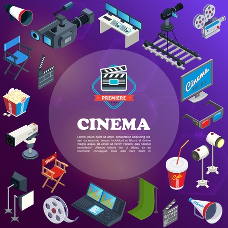 Isometric cinema concept with movie cameras director chair popcorn 3d glasses screen film reel megaphone soda projectors