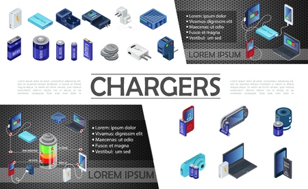 Isometric modern chargers composition with power bank and batteries of different capacity for audio player  イラスト・ベクター素材