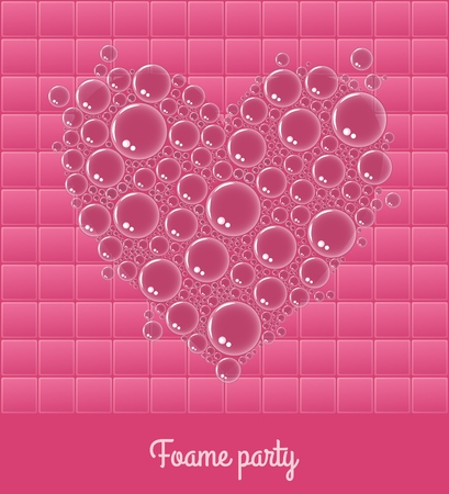 Light foam party template with water bubbles in shape of heart on pink square Illustration