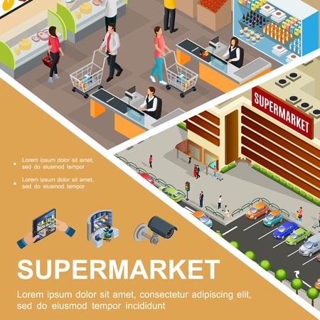 Isometric shopping mall concept with supermarket building exterior cars on parking customers cashier in hypermarket Çizim