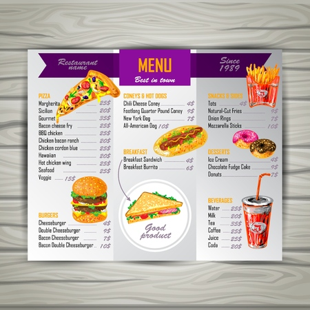 Fast food menu of best restaurant in town on the wooden table vector illustration Illustration