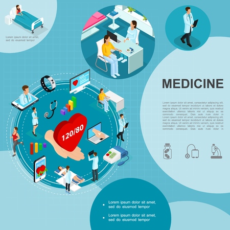 Isometric medicine template with medical consultation doctors patient in hospital ward smartwatch