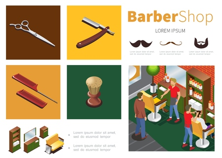 Isometric barber shop infographic template with hairdressers clients cupboard mirror sofa chairs scissors razor shaving brush combs mustache beard silhouettes vector illustration Vectores