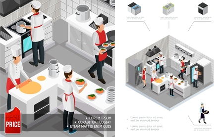 Isometric restaurant kitchen interior concept with chefs cooking dishes furniture stove fridge and utensil vector illustration