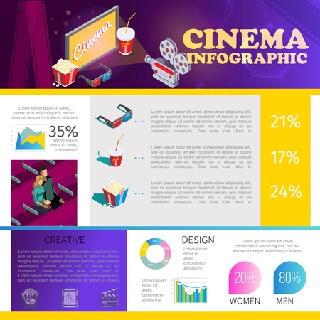 Isometric cinematography infographic template with couple in cinema 3d glasses soda