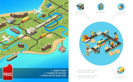 Isometric global logistics composition with airplane truck ship train transportation packaging