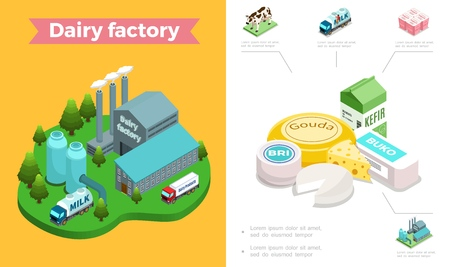 Isometric dairy industry composition with milk factory cow truck yogurt kefir and different sorts of cheese vector illustration
