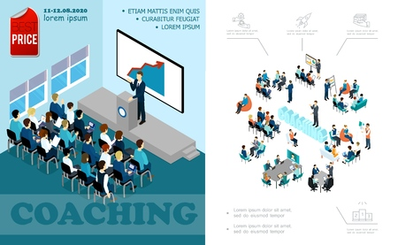 Isometric business education composition with lecturer speaking to auditorium brainstorming staff coaching seminar online conference vector illustration