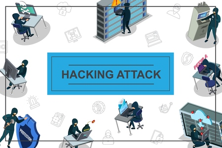 Isometric hacker activity concept with hacking of computer mail servers data center atm and internet security icons