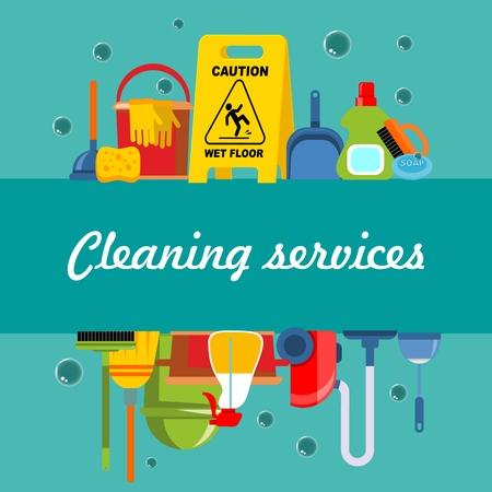 Modèle plat de service de nettoyage avec équipement et outils de lavage