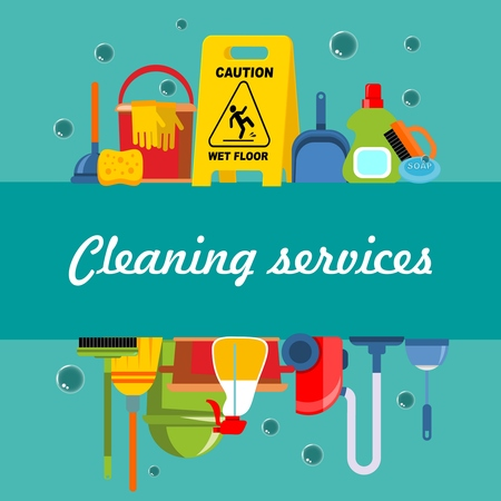 Cleaning service flat template with washing equipment and tools Illustration