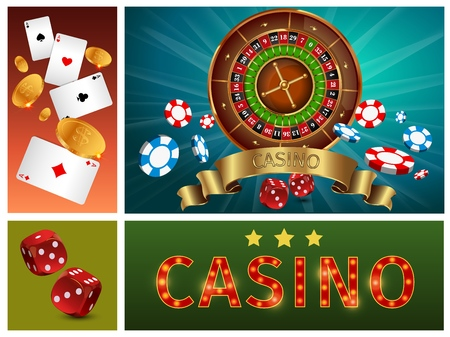 Realistic casino bright composition with gambling roulette poker chips cards gold coins and dices vector illustration Illustration
