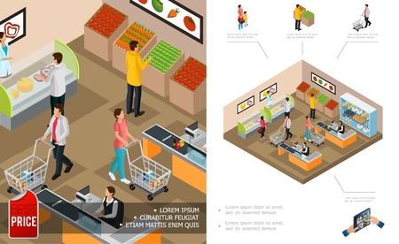Isometric grocery shopping concept with cashiers customers pushing carts and buying different products