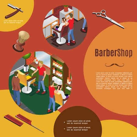 Isometric barber shop colorful template with hairdressers and customers interior objects razor scissors combs brush vector illustration Illustration