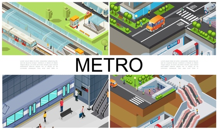 Isometric city subway composition with trains metro station platform