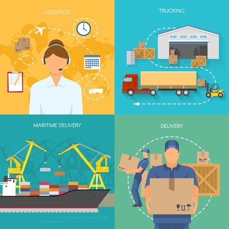 Logistics flat compositions with call center storage and trucking maritime transportation delivery isolated vector illustration Illustration
