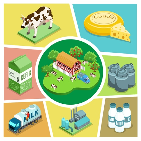 Isometric farming elements composition with house apple trees cows dairy factory truck kefir cheese bottles and barrels of milk vector illustration Illustration