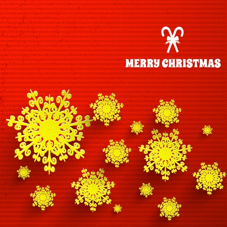 Bright red textured merry christmas background with beautiful yellow snowflakes flat vector illustration