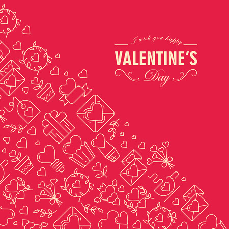 Happy valentines day postcard divided on two parts with text including wishes be happy in the front corner and many icons such as heart, twig, envelope in the left one on the red background vector illustration