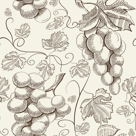 Natural floral decorative seamless pattern with bunches of grapes in sketch style on light background vector illustration