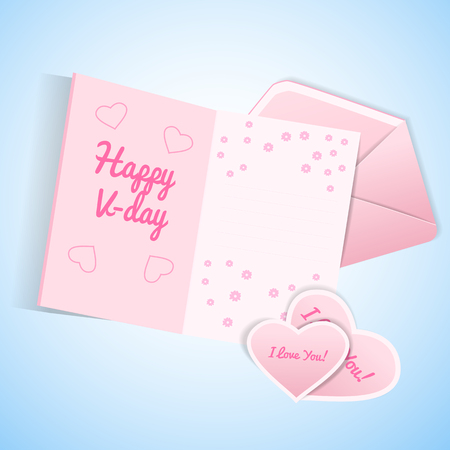 Cute valentines day set with pink and white envelope postcard with wish and valentines Standard-Bild - 115010950
