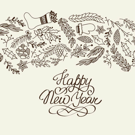 Happy New Year congratulation decorative doodle with cartoons symbolizing the beginning