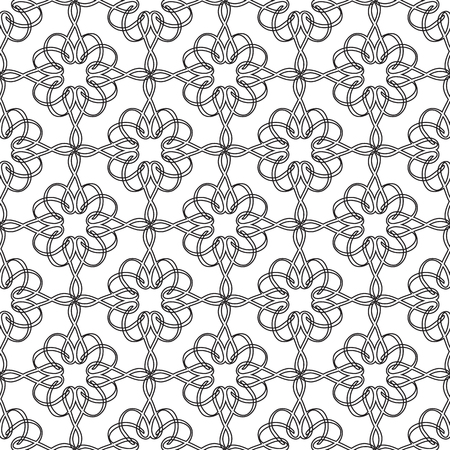 Abstract ornate seamless pattern with repeating connected curved ribbons in monochrome style