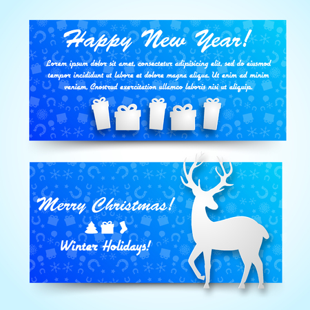 Horizontal happy new year blue banners set with deer and gift boxes images