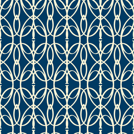 Abstract ornate seamless pattern with geometric repeating objects in monochrome style