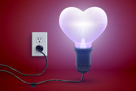 Amorous bright love poster with realistic glowing plugged in electric light bulb in heart shape