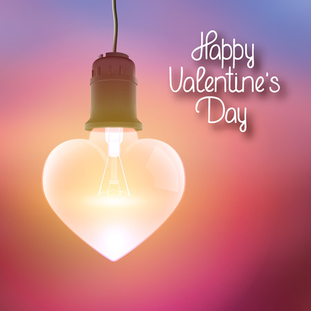 Amorous bright poster with greeting inscription and realistic hanging glowing bulb in shape of heart Иллюстрация