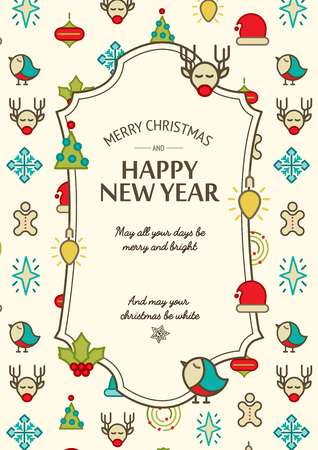 Colorful happy new year and merry christmas design concept with colorful winter symbols in doodle style on white background vector illustration