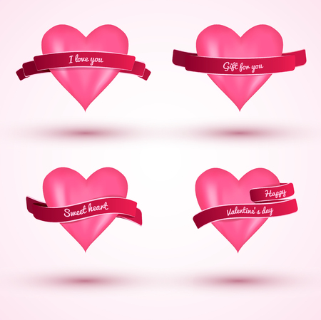 Cute valentines day 2x2 flat love cards with pink hears and ribbons isolated on light pink background vector illustration