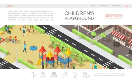 Isometric children playground web page template with kids and parents in recreational park slides benches swings sandbox trees buildings vector illustration