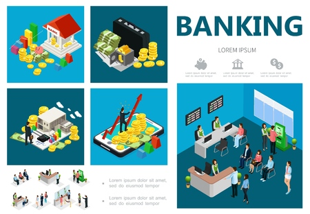 Isometric bank infographic concept with building coins money case safe online banking Standard-Bild - 115011128