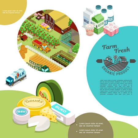 Isometric agriculture colorful template with farm tractor apple trees pigs bales of hay greenhouse windmill vegetables milk truck dairy products vector illustration Illustration