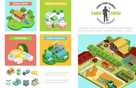 Agriculture and farming infographic template with dairy factory products house Foto de archivo - 115011133