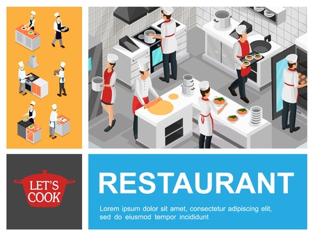 Isometric restaurant cooking process composition with waiter chefs and assistants