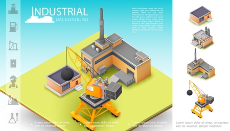 Isometric industrial manufacturing concept with plant construction crane warehouse and oil industry icons vector illustration
