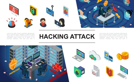 Isometric hacking elements collection with hackers siren shields computer servers Illustration