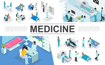 Isometric medicine elements collection with doctors patients nurses medical diagnostic procedures MRI scan Illustration