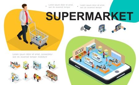 Izometryczny skład supermarketu z halą hipermarketu na ekranach mobilnych klientów