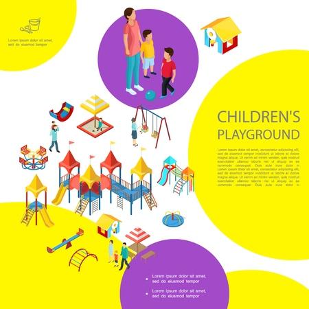Plantilla colorida isométrica del patio de recreo para niños con toboganes de caja de arena columpios casa de juegos carrusel equipo de entretenimiento padres niños ilustración vectorial Ilustración de vector