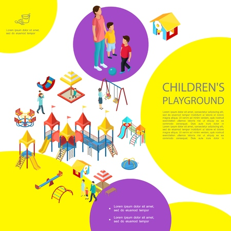 Isometric kids playground colorful template with sandbox slides swings playhouse carousel amusement equipment parents children vector illustration Illustration