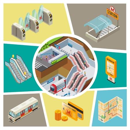 Composition d'éléments de métro isométrique avec tourniquets de train de passagers de station de métro