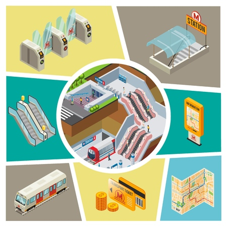 Isometric subway elements composition with metro station passengers train turnstiles Illustration