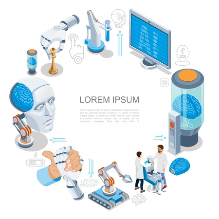 Isometric artificial intelligence round concept with cyborg head robotic arms monitor human brain with chip scientists industrial robots vector illustration Illustration