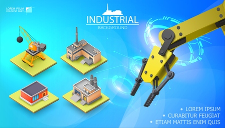 Modern industrial light template with realistic mechanical automated robotic arm and isometric construction crane factory warehouse Vektorové ilustrace